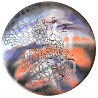 Mixed media on canvas, 36 inches diameter