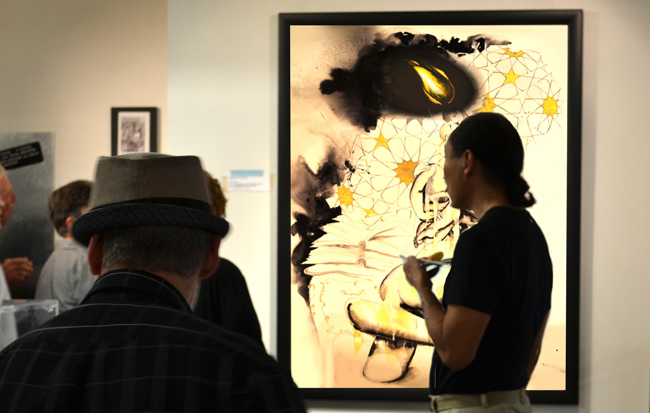 sumi ink drawing, silk screen, The Kiss