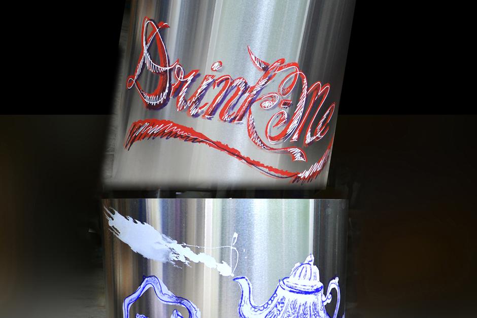 silk screened art on aluminum, Drink Me