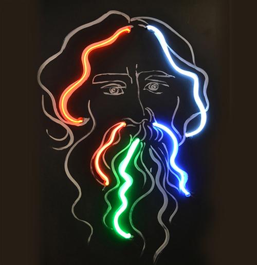 Portrait of a Poet, neon on chalkboard