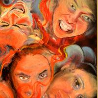 Ravana, oil on reclaimed canvas, 48x36 inches, 2016