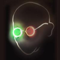 Wisdom in 3D, neon on chalkboard, 2010