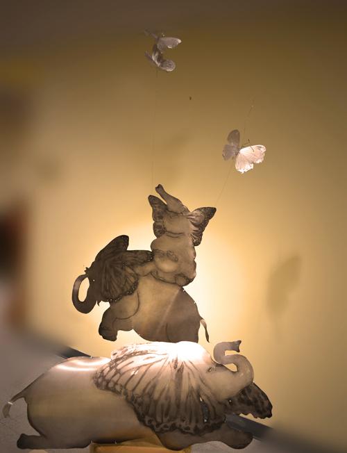 Flight, etched metal sculpture