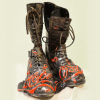 Muddy Boots, found object sculpture, 12x8x4 inches, 2016