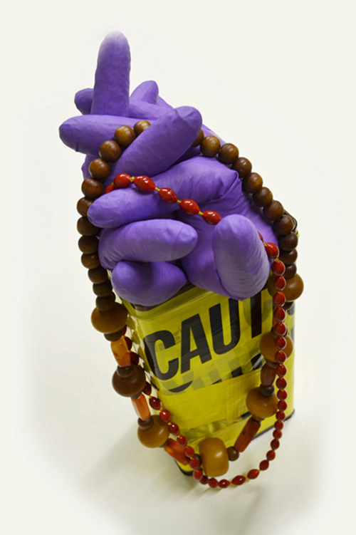 Caution, upcycled sculpture