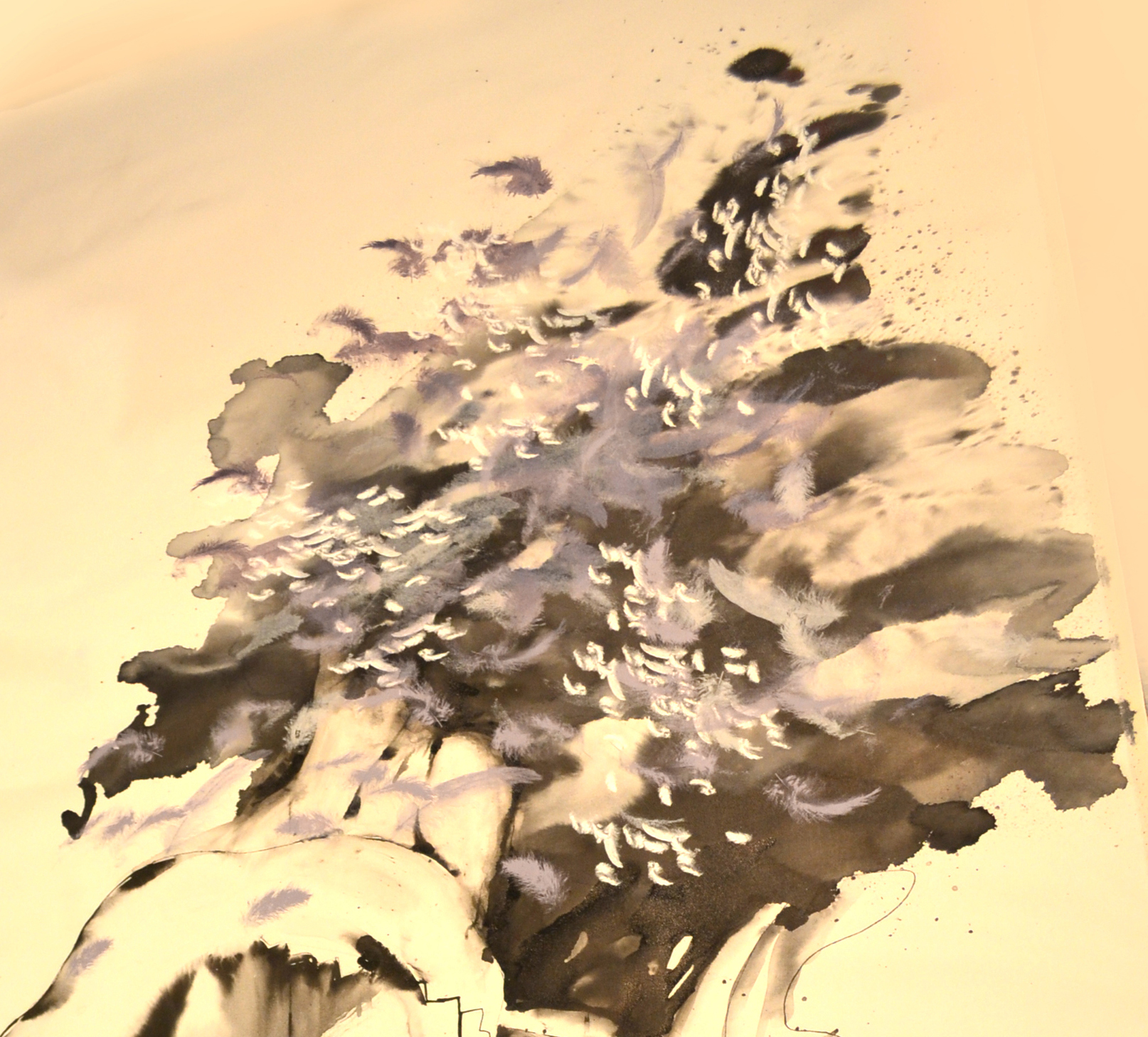 sumi ink drawing, Busted