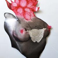 etched metal sculpture, Heart