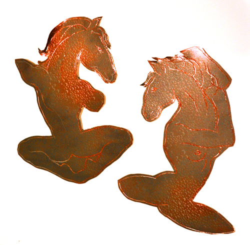 Etched metal sculpture with silk screened texture, All the King's Horses