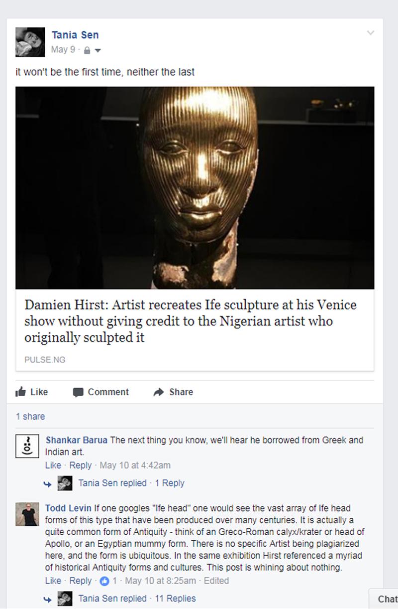 Facebook Post, Tania Sen, Todd Levin, Damien Hirst