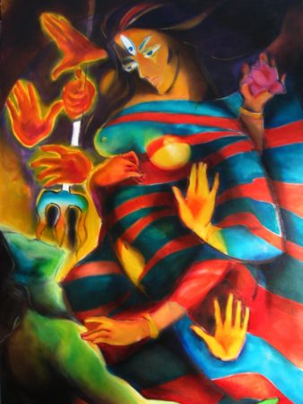 Dilemma of Durga, oil on canvas