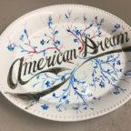 American Dreams, enamel paint on porcelain, 12x14x3 inches