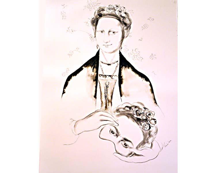 Unmasking, sketch on paper, by Tania Sen